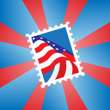 Postage stamp with the American flag Royalty Free Stock Images