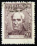Postage stamp of Argentina, shows Admiral Guillermo Brown, national hero, circa 1965 Stock Photos