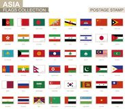 Postage stamp with Asia flags. Set of 62 Asian flag. stock illustration