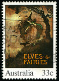 Postage stamp. AUSTRALIA - CIRCA 1985: stamp printed by Australia, shows Illustrations from classic children�s books, Elves & Fairies, circa 1985 Stock Image