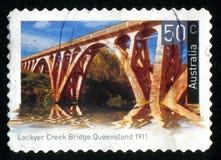 Postage stamp. AUSTRALIA - CIRCA 2004: stamp printed by Australia, shows Historic bridge, circa 2004 stock image