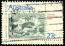Postage stamp. AUSTRALIA - CIRCA 1982: stamp printed by Australia, shows old bridge, circa 1982 stock photography