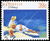 Postage stamp. Of Australia - Fishing Stock Photography