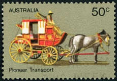 Postage stamp - Australia. Pioneer Transport Stock Photo