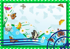 Postage stamp. Butterflies and daisies Royalty Free Stock Images