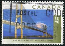 Postage stamp. CANADA - CIRCA 1995: stamp printed by Canada, shows Alex Fraser Bridge, Britich Columbia, circa 1995 stock photography