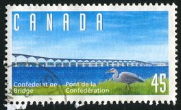 Postage stamp. CANADA - CIRCA 1997: stamp printed by Canada, shows bridge, circa 1997 royalty free stock photography
