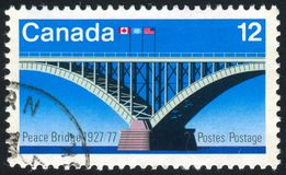Postage stamp. CANADA - CIRCA 1977: stamp printed by Canada, shows bridge, circa 1977 stock images