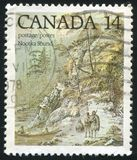 Postage stamp. CANADA - CIRCA 1978: stamp printed by Canada, shows Nootka Sound, by John Webber, circa 1978 royalty free stock photos