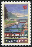Postage stamp. CANADA - CIRCA 1998: stamp printed by Canada, shows Port Carling Lock, Ontario, circa 1998 royalty free stock photo