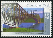 Postage stamp. CANADA - CIRCA 1995: stamp printed by Canada, shows Quebec Bridge, Quebec, circa 1995 royalty free stock photography