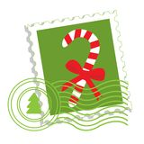 Postage stamp with candy cane royalty free illustration