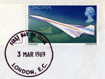 Postage Stamp Celebrating the First Concorde Flight Royalty Free Stock Photos