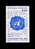 Stamp for the fortieth anniversary of the united nations. Postage stamp, celebrating the fortieth anniversary of the establishment of the United Nations in 1945 Stock Photography