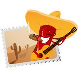 Postage stamp with chili pepper Royalty Free Stock Photo