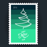 Postage Stamp Christmas Tree. Design Illustration Concepts Christmas Tree. Happy New Year. 2016. Postage Stamp Royalty Free Stock Image