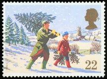 Postage Stamp - Christmas tree royalty free stock photo