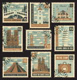 Postage stamp city Royalty Free Stock Images