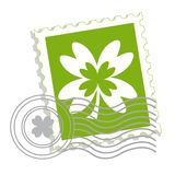 Postage stamp with clover leaf Stock Photos
