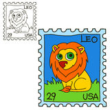 Postage stamp. Coloring book page Royalty Free Stock Photography