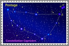 Postage stamp Constellation Capricorn with a frame simple perforation. Vector illustration. Can be used for poster, banner, cover, postcard, design, labels Royalty Free Stock Image