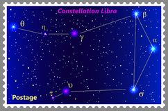 Postage stamp Constellation Libra with a frame simple perforation. Vector illustration. Can be used for poster, banner, cover, postcard, design, labels Royalty Free Stock Photos