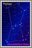 Postage stamp Constellation Orion with a frame simple perforation. Vector illustration. Can be used for poster, banner, cover, postcard, design, labels Royalty Free Stock Image