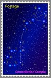 Postage stamp Constellation Scorpio with a frame simple perforation. Vector illustration. Can be used for poster, banner, cover, postcard, design, labels Royalty Free Stock Image