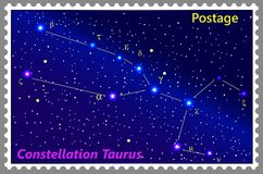 Postage stamp Constellation Taurus with a frame simple perforation. Vector illustration. Can be used for poster, banner, cover, postcard, design, labels Stock Photo