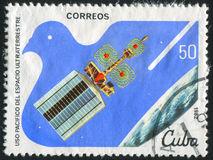 Postage stamp. CUBA - CIRCA 1982: stamp printed by Cuba, shows satellite, circa 1982 royalty free stock photos