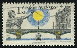 Postage stamp. CZECHOSLOVAKIA - CIRCA 1978: Prague bridges and Praga 78 emblem: bridge of May, circa 1978 stock images