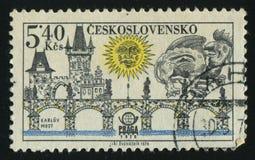 Postage stamp. CZECHOSLOVAKIA - CIRCA 1978: Prague bridges and Praga 78 emblem: Charles Bridge, circa 1978 royalty free stock photos
