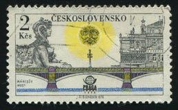 Postage stamp. CZECHOSLOVAKIA - CIRCA 1978: Prague bridges and Praga 78 emblem: Manes bridge, circa 1978 royalty free stock photos