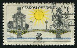 Postage stamp. CZECHOSLOVAKIA - CIRCA 1978: Prague bridges and Praga 78 emblem: Svatopluk cech bridge, circa 1978 royalty free stock images