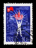 Postage stamp devoted soviet exhibition of Children`s creativity on EXPO-70, circa 1970 Royalty Free Stock Images