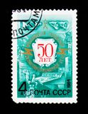 Postage stamp devoted to 50th anniversary of Radio broadcast, circa 1984 Stock Image
