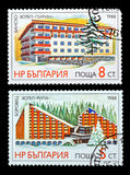 Postage stamp. DZERZHINSK, RUSSIA - FEBRUARY 11, 2016: Set of a postage stamp of BULGARIA shows Hotels, circa 1988 Stock Image