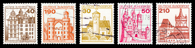 Postage stamp. DZERZHINSK, RUSSIA - FEBRUARY 04, 2016: Set of a postage stamp of GERMANY shows Castles, circa 1977 Royalty Free Stock Photo