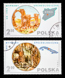 Postage stamp. DZERZHINSK, RUSSIA - FEBRUARY 11, 2016: Set of a postage stamp of POLAND shows Expedition to Syria and Cuba, circa 1980 Royalty Free Stock Photos