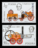 The Postage Stamp. DZERZHINSK, RUSSIA - FEBRUARY 11, 2016: Set of a postage stamp of POLAND shows Streame locomotive, circa 1976 Stock Photography
