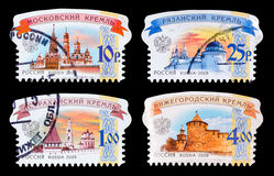 Postage stamp. DZERZHINSK, RUSSIA - FEBRUARY 04, 2016: Set of a postage stamp of RUSSIA shows Russian Kremlins, circa 2009 Royalty Free Stock Photography