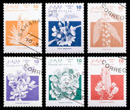 Postage stamp. DZERZHINSK, RUSSIA - FEBRUARY 04, 2016: Set of a postage stamp of SAHARA shows flowers, circa 1992 Stock Photography