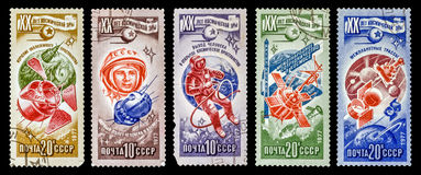 The Postage Stamp. DZERZHINSK, RUSSIA - FEBRUARY 11, 2016: Set of a postage stamp of USSR shows astronautics, circa 1977 Stock Image