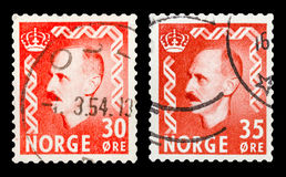 Postage stamp. DZERZHINSK, RUSSIA - JANUARY 18, 2016: Set of a postage stamp of NORWAY shows portrait of King Haakon VII (1872-1957), circa 1950 Stock Images
