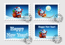 Postage stamp for an envelope with a letter. With a picture of Santa Claus. Happy New Year. Merry Christmas. Vector. Icon Stock Photos