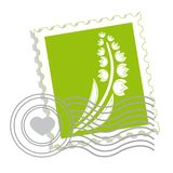 Postage stamp with flower royalty free illustration