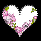 Postage stamp with flowers. For valentine's day Royalty Free Stock Photo