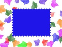 Postage stamp frame. On colorful leave background Stock Photography