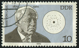 Postage stamp. GERMANY- CIRCA 1979: stamp printed by Germany, shows Max von Laue and diagram of sulphide zinc, circa 1979 Royalty Free Stock Photography