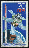 Postage stamp. GERMANY- CIRCA 1978: stamp printed by Germany, shows Soyuz Camera and Space Complex, circa 1978 royalty free stock photos
